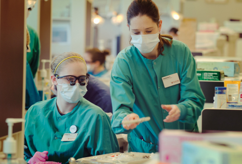 dental hygiene students in real world lab setting