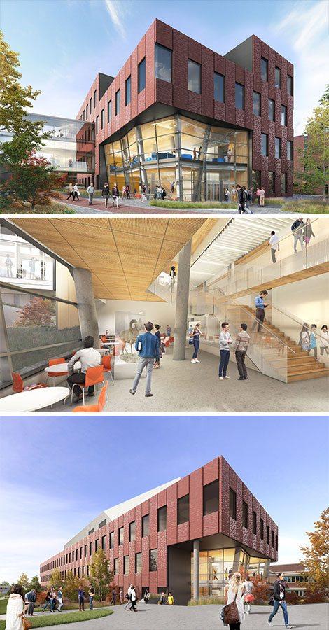 Three photo renderings: EWU Interdisciplinary Science Center interior and exterior