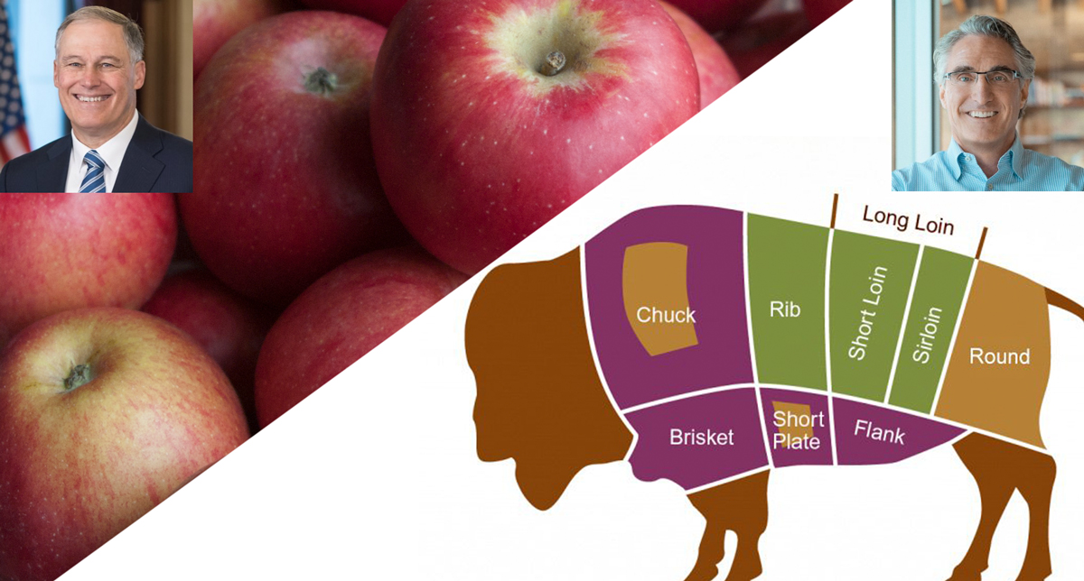 Graphic representing WA and ND governors betting apples and bison steaks
