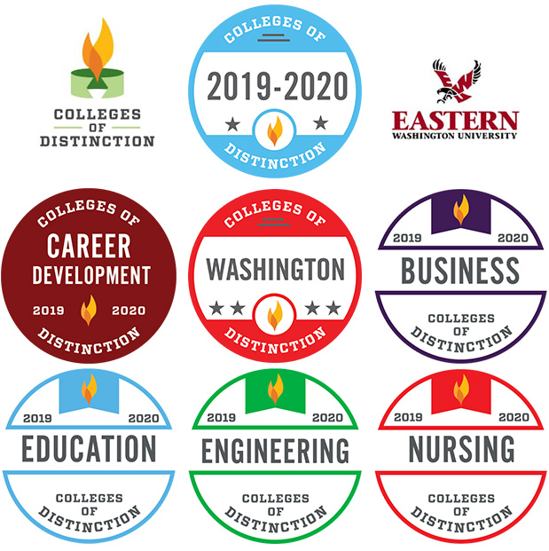 "Graphic: EWU's ""Colleges of Distinction"" Designations for 2018-2019 are for Public Schools, Business, Education, Engineering and Nursing"