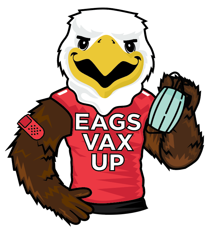 """A graphic of Eagle mascot """"Swoop"""" with a bandage on his arm"""